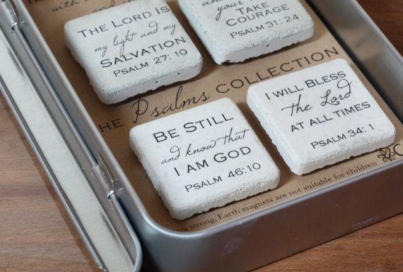 PSALMS Magnets. Rustic Refrigerator Magnets. 1.25 x 1.25.  PSALMS Collection. Concrete Magnets. Gift Tin with Ribbon. Earth Magnets.