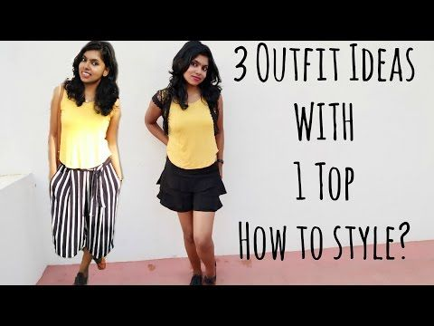 How to wear same clothes in different ways? Styling 1 t-shirt in 3 ways with culottes pant etc. These casual outfit ideas for girls are best for summer 2017. I made this Fashion lookbook with culottes, ruffles skort and ripped skinny jeans.