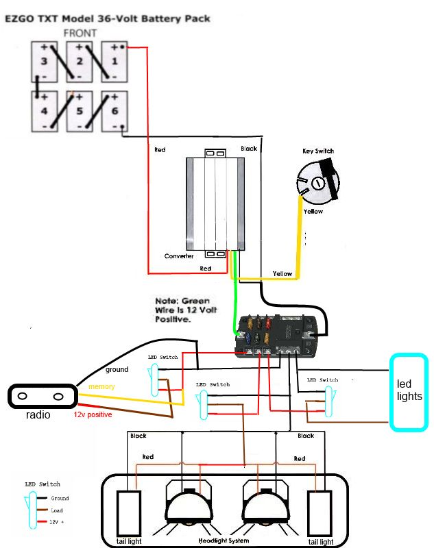 9c61a83c8ac70399d220e78bdb485181 golfcart suzuki samurai whats the correct way to wire my voltage reducer and fuse block 36 Volt Battery Wiring Diagram at panicattacktreatment.co