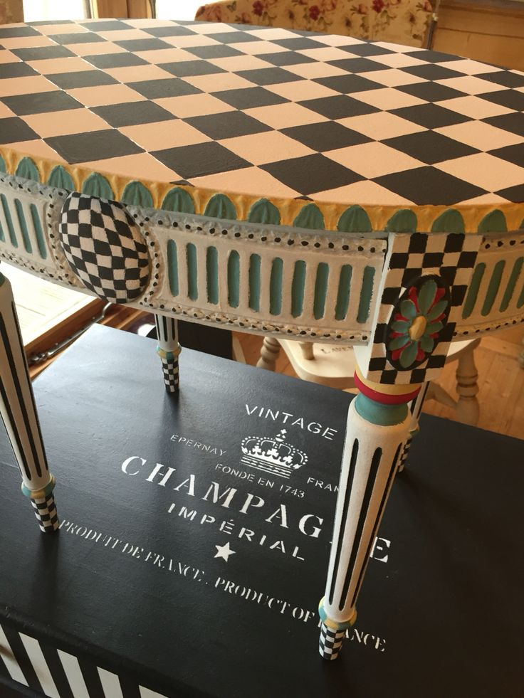 Chequered, Hand-Painted Table...