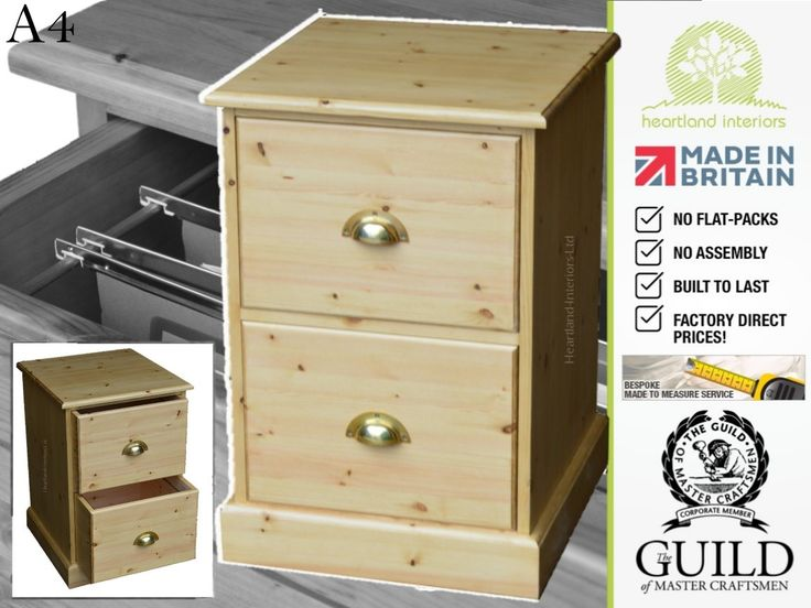 Solid Pine Or Oak Traditional 2 Drawer Filing Cabinet