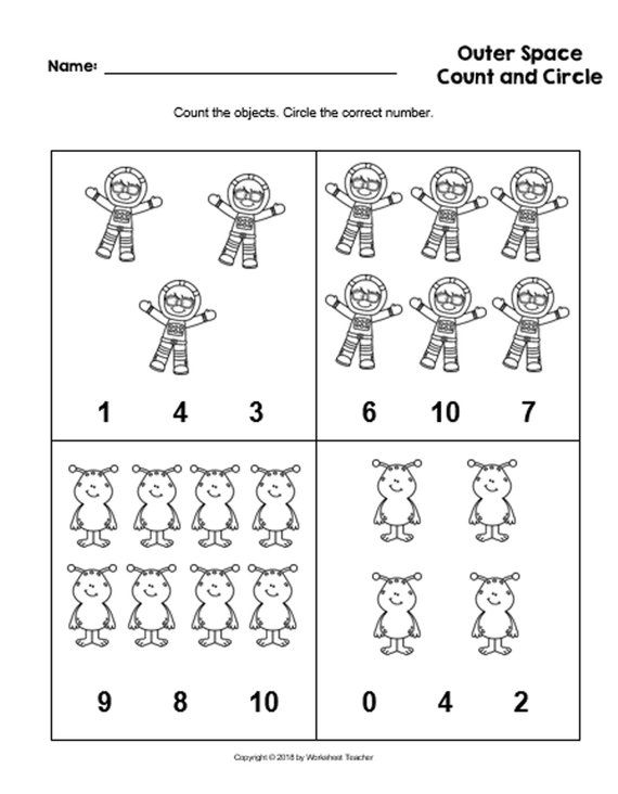 4 Printable Outer Space Count And Circle Numbers 0 10 Worksheets