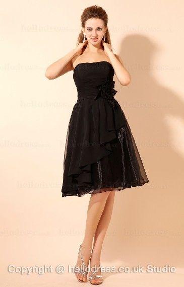 Knee-length Black Chiffon Dress