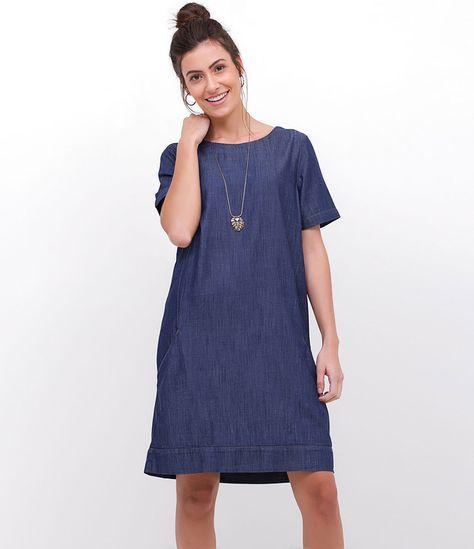 6aa06f724 Vestido feminino Gola redonda Manga curta Com bolso Tecido: jeans  Composição: 67% viscose