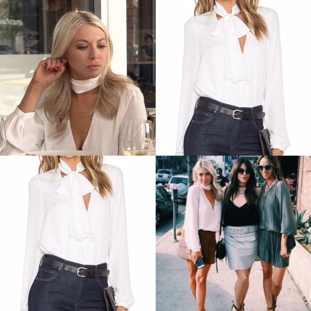 Stassi Schroder's White Tie Neck Cut Out Blouse http://www.bigblondehair.com/reality-tv/stassi-schroeders-tie-neck-blouses/ Season 5 Episode 4 Vanderpump Rules Fashion