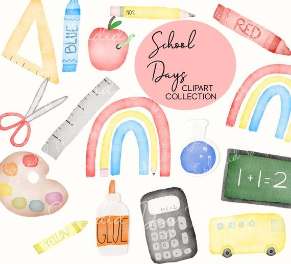 Back To School Clip Art First Day Of School Clip Art Etsy Clip Art Colorful Art Supplies Classroom Clipart