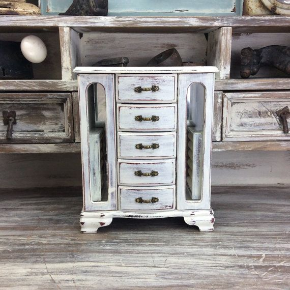 GORGEOUS JEWELRY ARMOIRE White Jewelry Box Wood by ShabbyShores