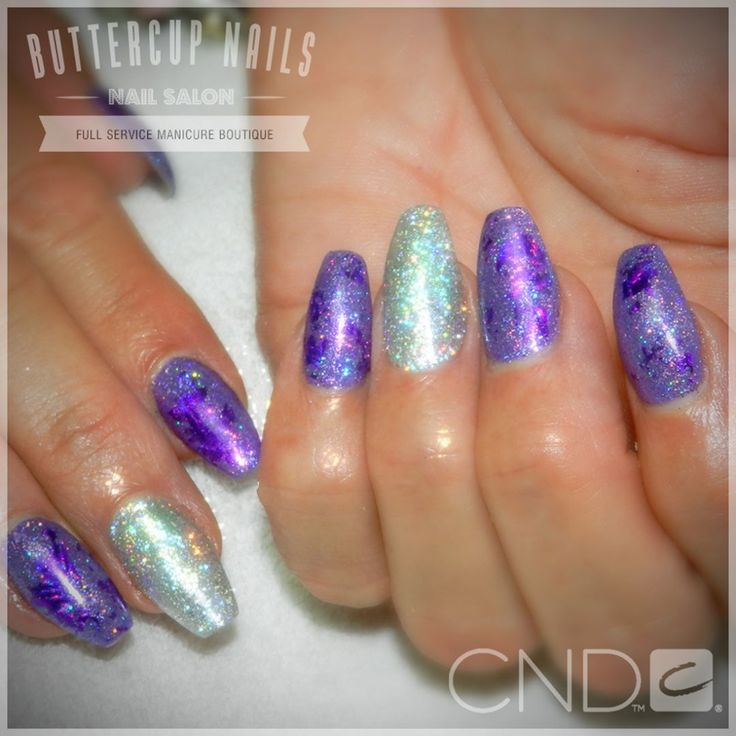 CND Shellac in Video Violet with foiling and purple holo glitter and silver feature nails.  #CND #CNDWorld #CNDShellac #Shellac #nails #nail #nailstagram #naildesign #naildesigns #nailaddict #nailpro #nailart #nailartist #nailartdesign #nailartofinstagram #nailartdesigns