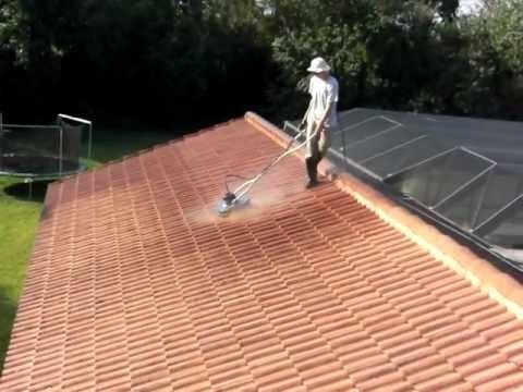 Insanely fast roof cleaning using a 30 HP 3500 PSI @ 9 GPM hot water pressure washers  954-714-4977