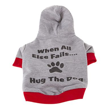 Stylish Hug The Dog Slogan Pattern Coat with Hoodie for Pets Dogs (Assorted Sizes) - USD $ 6.89
