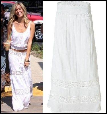 element white maxi skirt tiered crochet cotton st