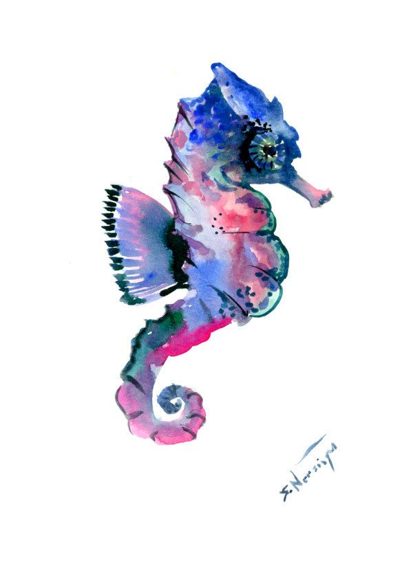 Seahorse Wall decor, seahorse art, one of  a kind original watercolor painting, seahorse art by ORIGINALONLY on Etsy