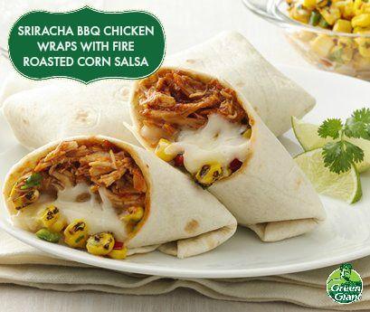 Sriracha BBQ Chicken Wraps with Fire Roasted Corn Salsa using Green ...