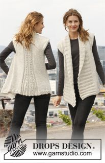 """Sweet Fall - Knitted DROPS vest in """"Alpaca"""" and """"Kid-Silk"""". Size: S - XXXL. - Free pattern by DROPS Design"""