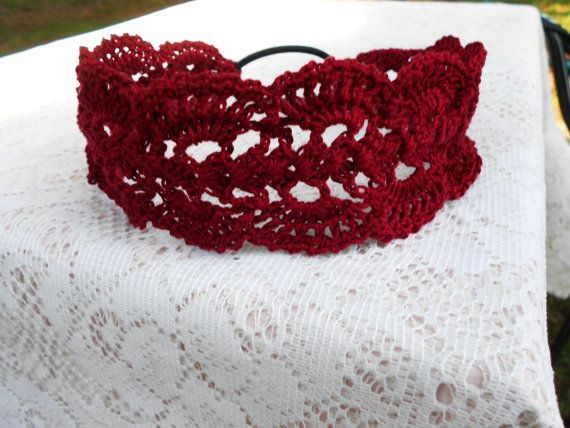 Check out this item in my Etsy shop https://www.etsy.com/listing/385322674/burgundy-lacy-headband-vintage-headband