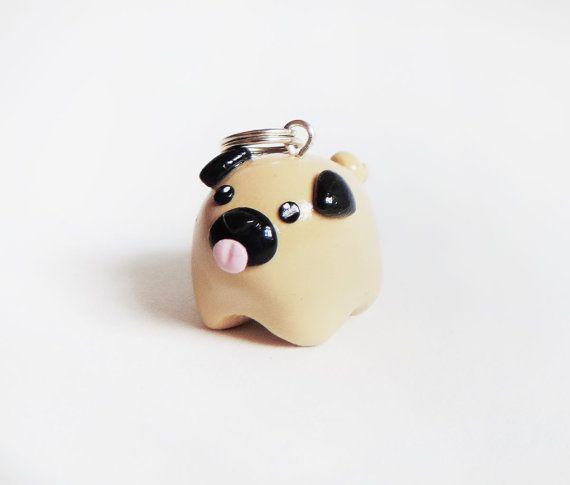Cute Fat Pet Pug Dog Necklace Polymer Clay von MadAristocrat, $18.00