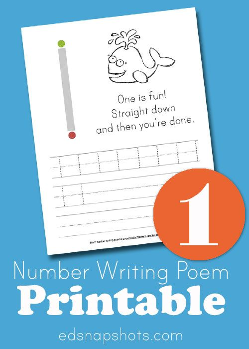 Learn to Write Numbers One Free Printable for Homeschool Math and Preschool Math