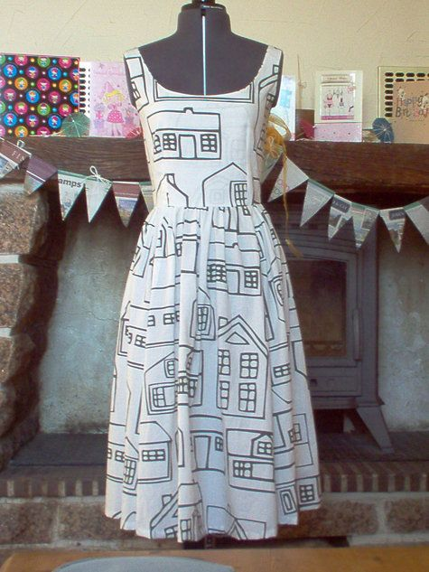 """Dress from free pattern Found the Website looks like the """"Mod Cloth Style Dresses"""" we have seen pinned here just press the website below and you will get the free PDF: http://www.sewmag.co.uk/downloads/files/iss3_pattern/sew_iss3.pdf  Requires drafting of pattern pieces but very interesting...."""