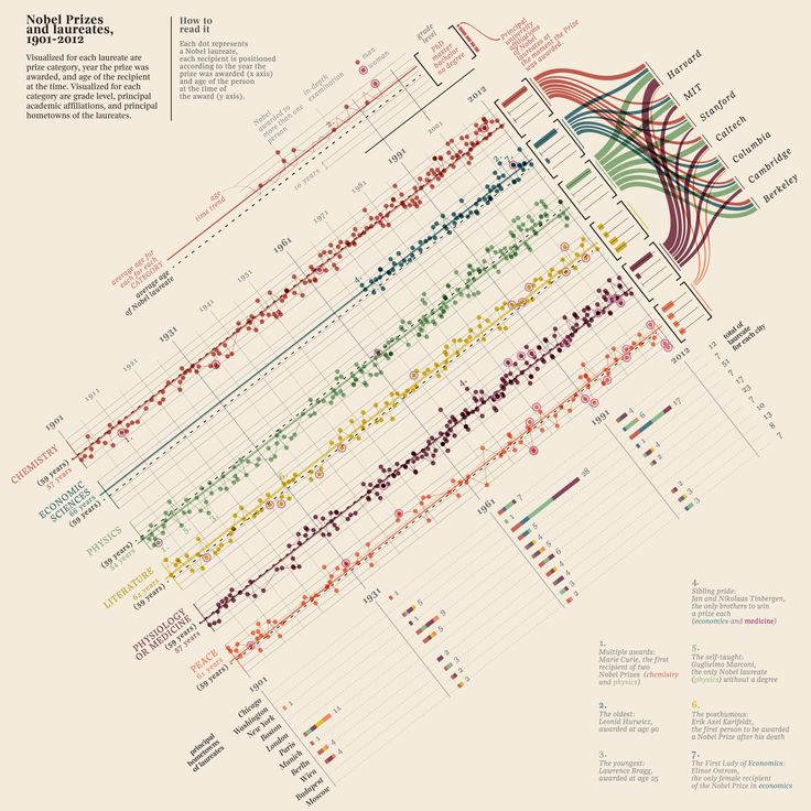 A visual history of Nobel Prizes and notable laureates, 1901-2012 by Italian information designer Giorgia Lupi.