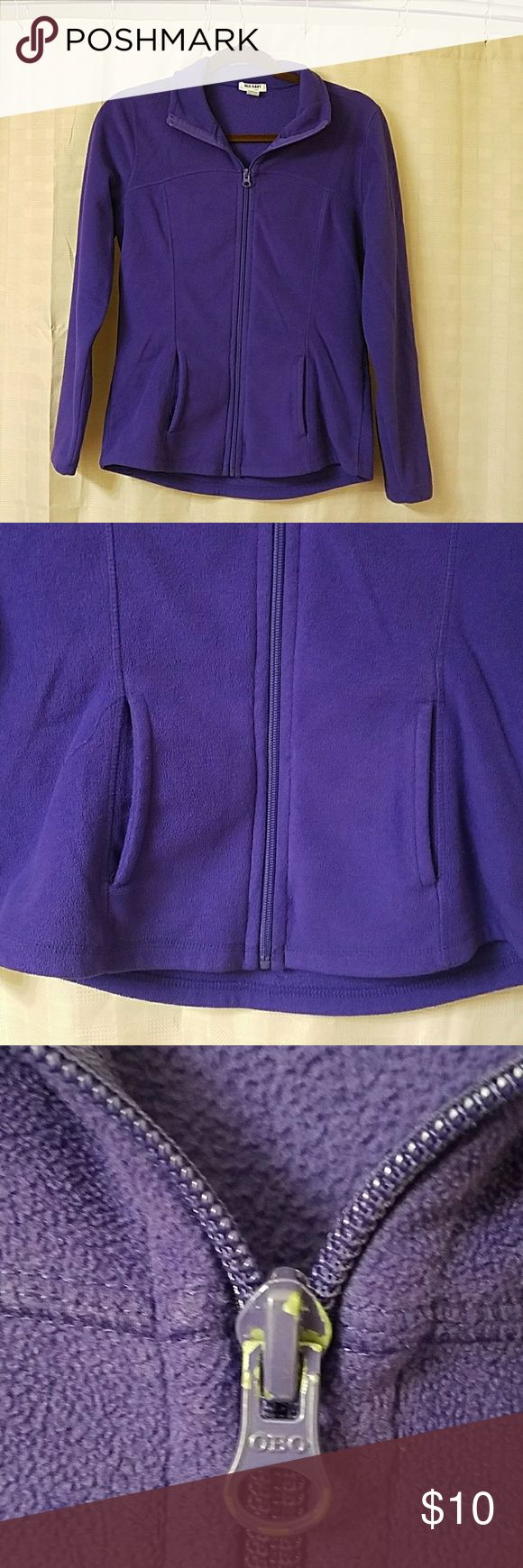 Small Purple zip up fleece jacket Measures approximately 18 1/2 inches from armpit to armpit lying flat.  Some paint has come of zipper pull but im good used condition. Old Navy Tops Sweatshirts & Hoodies