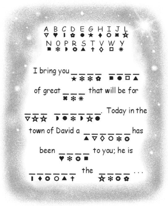 Jesus' birth announcement word decoder activity