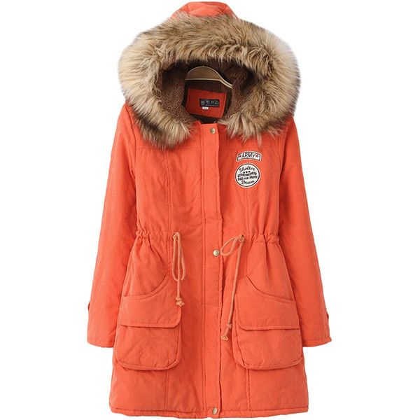 Orange Sexy Womens Tunic Fur Hooded Thick Long Parka Coat found on Polyvore featuring polyvore, women's fashion, clothing, outerwear, coats, orange, fur hood parka, long parka coats, fur hood coat and orange parka