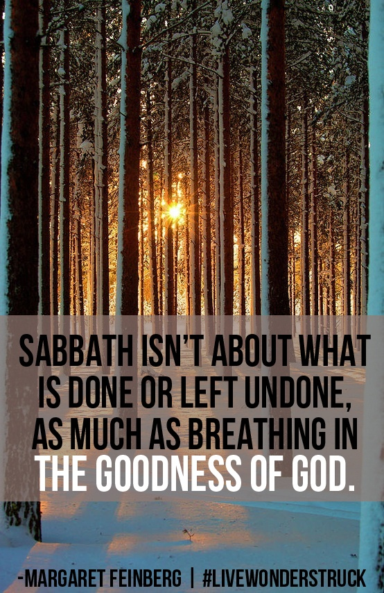 """I discovered the Sabbath isn't about what is done or left undone as much as breathing in the goodness of God. The more I inhaled, the more I desired another long breath.""     –Margaret Feinberg, Wonderstruck"
