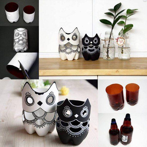 DIY Plastic Bottle Owl Vases - http://www.amazinginteriordesign.com/diy-plastic-bottle-owl-vases/