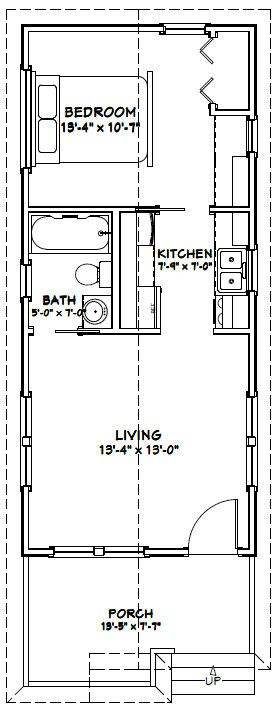 14x32 tiny house 14x32h1a 447 sq ft excellent for Minimalistisches haus grundriss