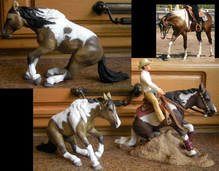 Black And White Paint Horse Glass Figurine