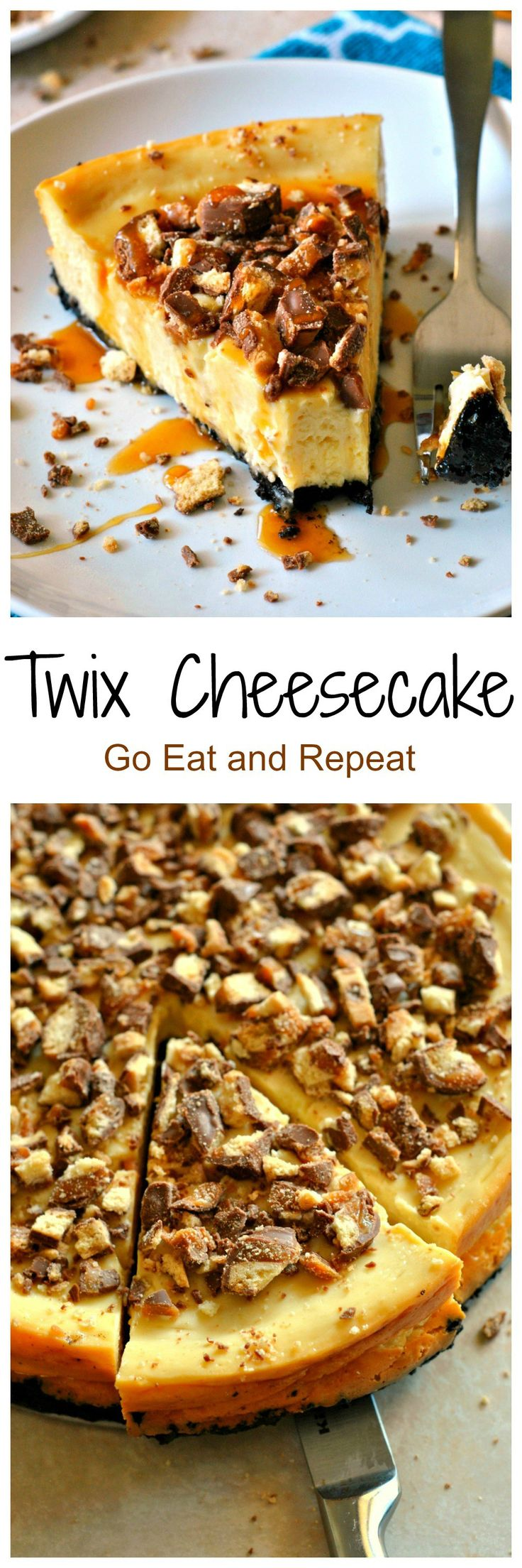 Chocolate oreo crust, smooth cheesecake, chopped Twix bars, and caramel sauce combine to make this Twix Cheesecake absolutely decadent!