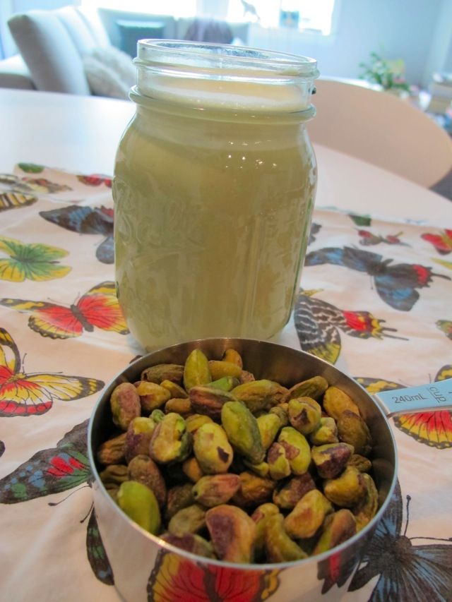 Homemade Pistachio Milk. Took this off of @Abby Stauss's FB, can't wait to try it out!