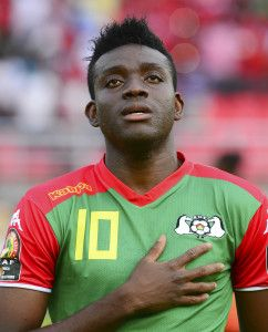 Alain Traore of Burkina Faso during the 2015 Africa Cup of Nations football match between Equatorial Guinea and Burkina Faso at the Bata Stadium in Bata, Equatorial Guinea on 21 January 2015 ©Barry Aldworth/BackpagePix