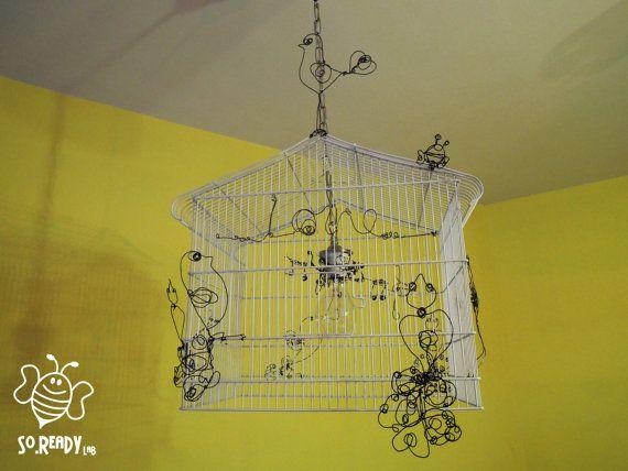 #Lampadario #riciclogabbia #uccelli #scultureferro #love #music #soreadystyle - di So.Ready Lab - soreadylab.etsy.com