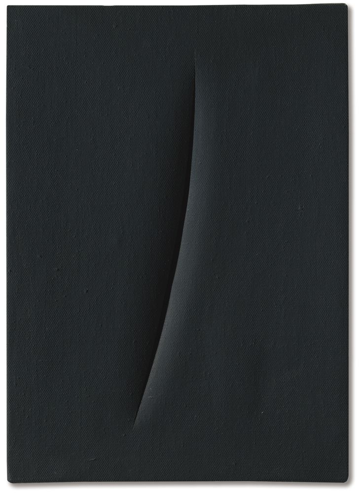 Lucio Fontana CONCETTO SPAZIALE, ATTESA SIGNED, TITLED AND INSCRIBED 1+1-3TU4 ON THE REVERSE, WATERPAINT ON CANVAS. EXECUTED IN 1961