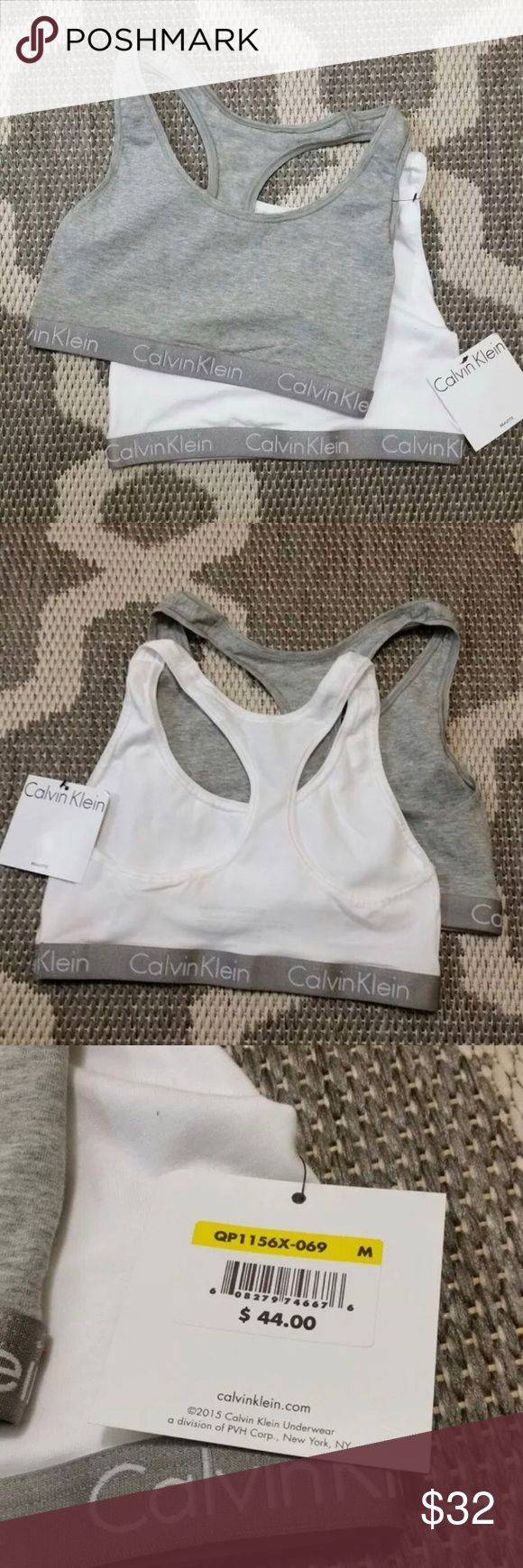 Calvin Klein Bralette Set of 2 Medium Calvin Klein Bralette Set of 2 Size Medium (38A, 36B, 34C-34D) One in grey, one in white. Both with silver Calvin Klein repeated logo band.  Material blend: 95% cotton, 5% elastane.  Style: QP1156X  Retail $44 Made in Bangladesh Please message me with any questions or concerns smoke-free and pet-free home Calvin Klein Intimates & Sleepwear Bras