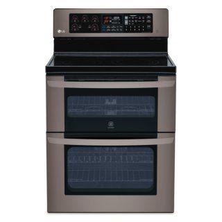 [LG Appliances Black Stainless Steel Electric Convection Double Oven Range (6.7 Cu. Ft.) - LDE3037BD]