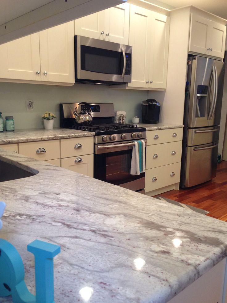River White Granite. Kashmir Granite. Kempas Natural Hardwood Floors. Small Kitchen  Designs.