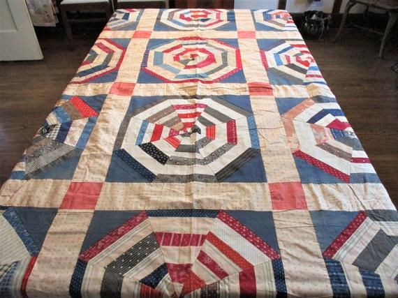 Antique Quilt Top 1900s Red White Blue Americana Primitive Hand