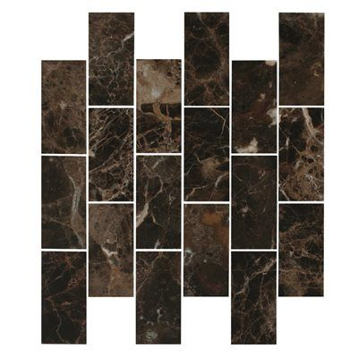 Faber 12-in x 14-in Emperador Dark Polished Marble Mosaic Indoor/Outdoor Subway Wall Tile