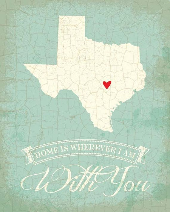 Texas map art state poster 8 x 10 Typographic by TheNoblePig