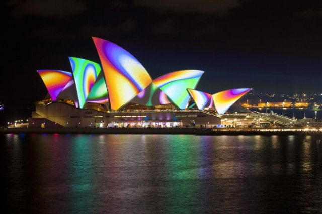 Vivid Sydney in Australia Very cool Light festival in Sydney and self-proclaimed largest celebration of light, music and ideas in the Southern Hemisphere. With stunning projections on the Sydney Opera House and 60 more different light installations. Usually around May..