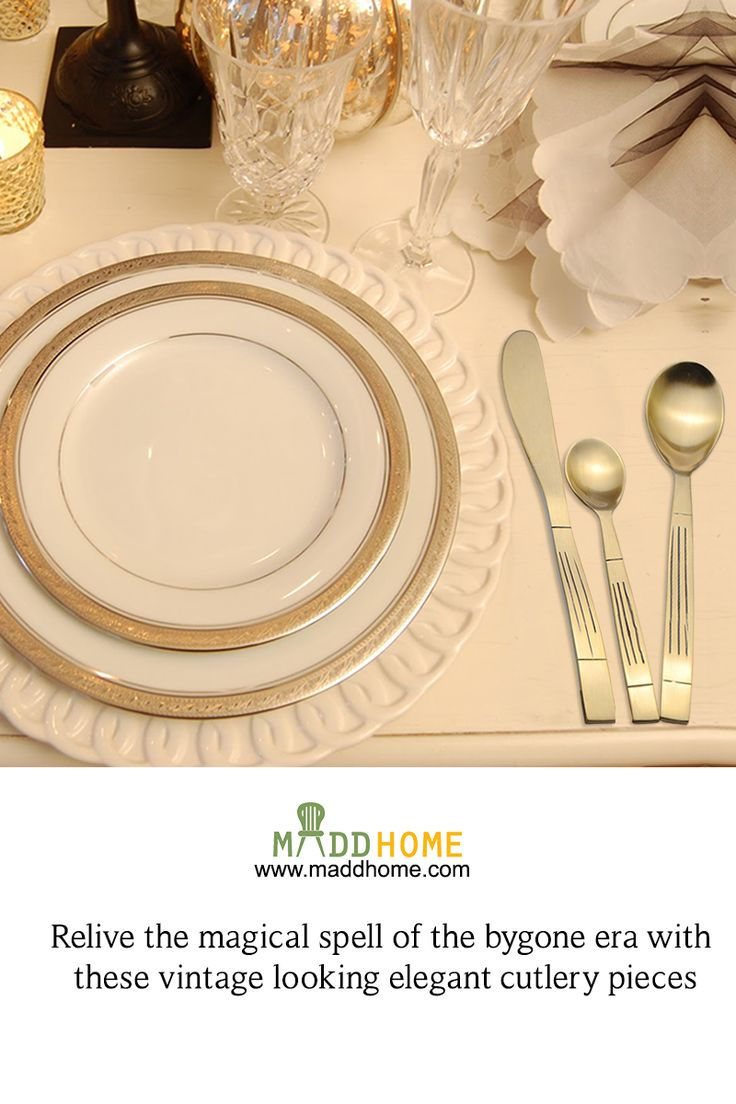 Add an antique touch to your modern cutlery  #MaddHome #HomeDecor #CutlerySet  Buy Now:- https://www.maddhome.com/cutlery/brass-antique-embossed-cutlery-set-1349.html