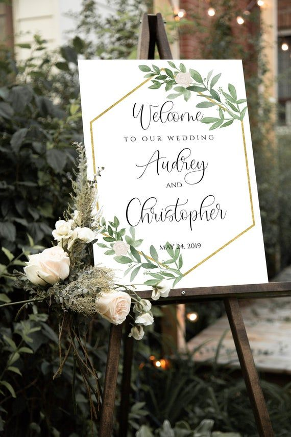 Welcome Wedding Sign Template  Printable Greenery Wedding