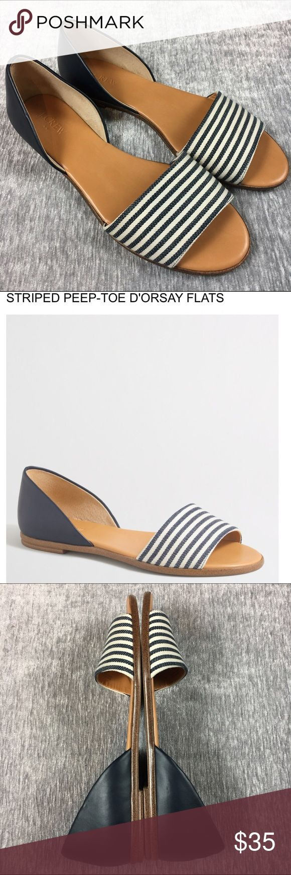 J. Crew Peep Toe D'Orsay Striped Nautical Flats J. Crew Peep Toe D'orsay Style Flat Sandal in striped blue and navy. Size 10 with leather insoles and heel. Cloth covered toe slide. Amazing condition! Only worn a couple times outside. J. Crew Shoes Sandals