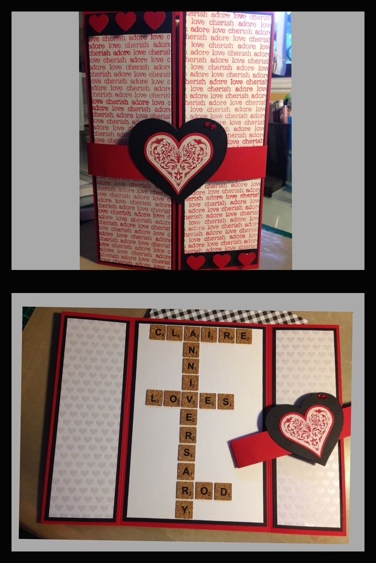 Personalised Anniversary Card. Gate fold style using Kaisercraft Love Cherish Adore background stamp and EK Success Sweethearts stamps