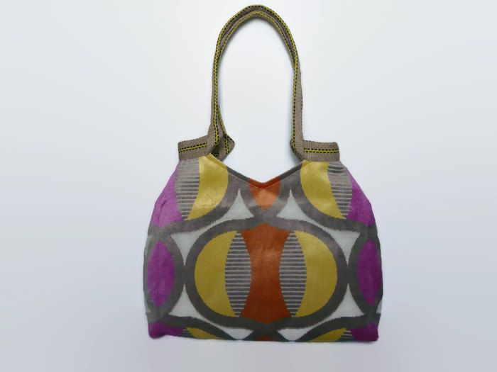 multicolored tote bag, sixties style fabric tote bag, trendy shoulder bag, fabric shoulderbag, trendy tote, large handbag,versatile tote bag - pinned by pin4etsy.com