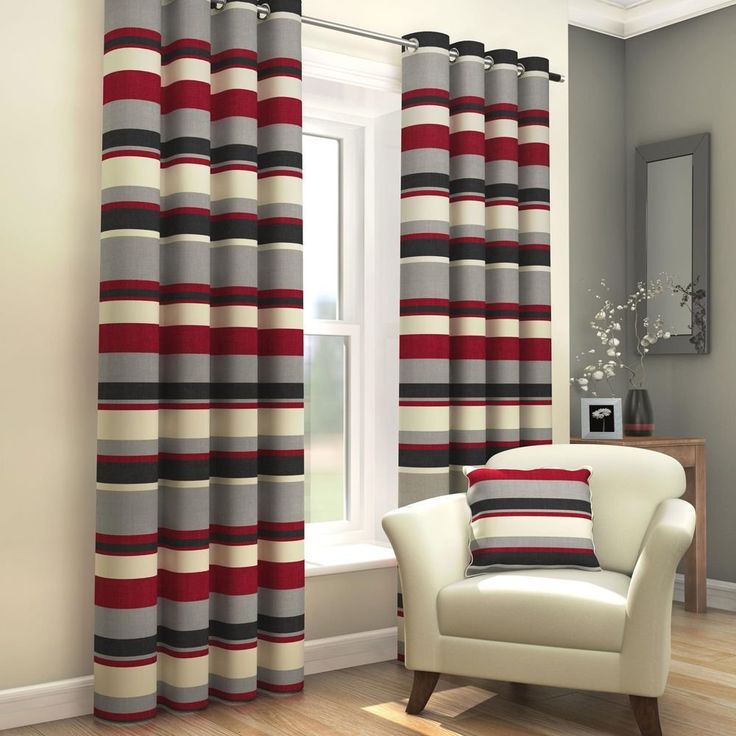 """Black Red Grey Cream Striped Ring Top Fully Lined Pair of Eyelet Ready Made Curtains (90"""" Wide x 90"""" Drop): Amazon.co.uk: Kitchen & Home"""