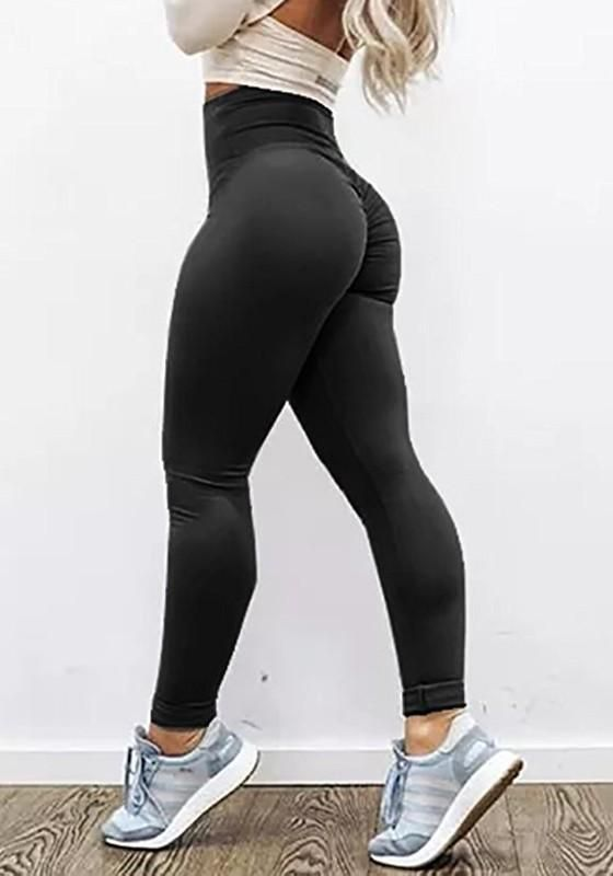 8017fc0c562 Black Pleated High Waisted Sports Yoga Workout Long Legging ...