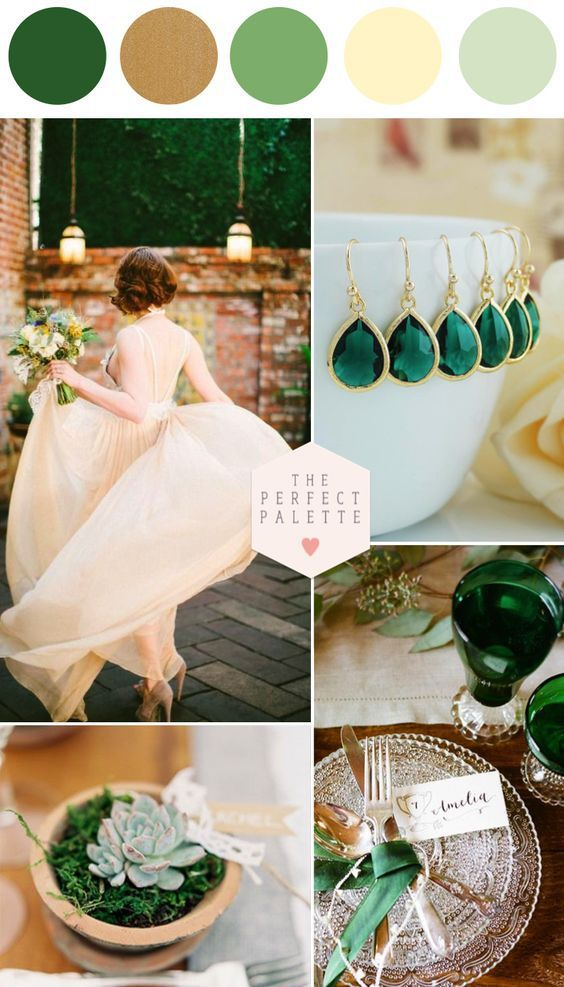 Emerald Green and Gold Wedding Palette